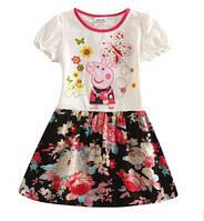 Нарядное платье на девочку Свинка Пеппа. Белый верх - черный низ.