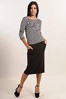 Костюм-двойка состоит из блузы (кофты) в продольную полоску и юбки-миди, 42-52 размеры