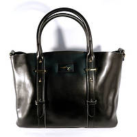 Кожаная женская сумка, саквояж 2 в 1 с клатчем Voee Vodd 60913 черная