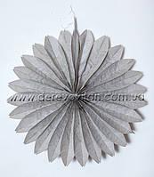Подвесной веер, серый, 35 см - бумажный декор-гармошка
