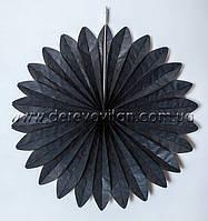 Подвесной веер, черный, 35 см - бумажный декор-гармошка