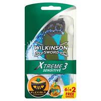 Одноразовые станки Wilkinson Sword Xtreme3 Sensitive 6+2 шт.(Вилкинсон Сворд) Schick Шик