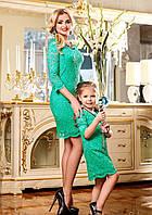 Нежное Гипюровое Платье для Мамы и Дочки Бирюзовое M-XXL