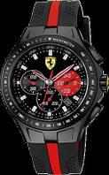 Мужские часы Ferrari кварцевые ремешок черный с красной полоской, корпус и циферблат черный