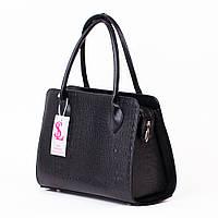 Черная деловая сумка женская прямоугольная каркасная