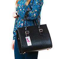 Черная каркасная сумка - классическая крокодиловая модель