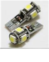 Светодиодная лампочка тёплая белая t10 w5w 5smd 5050 обманка 75 lm