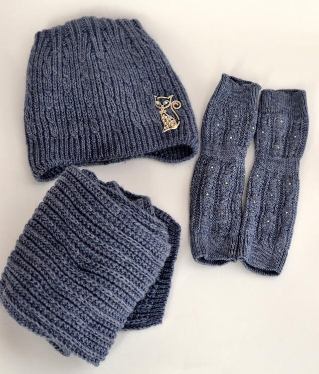 комплект шапка шарф и рукавички