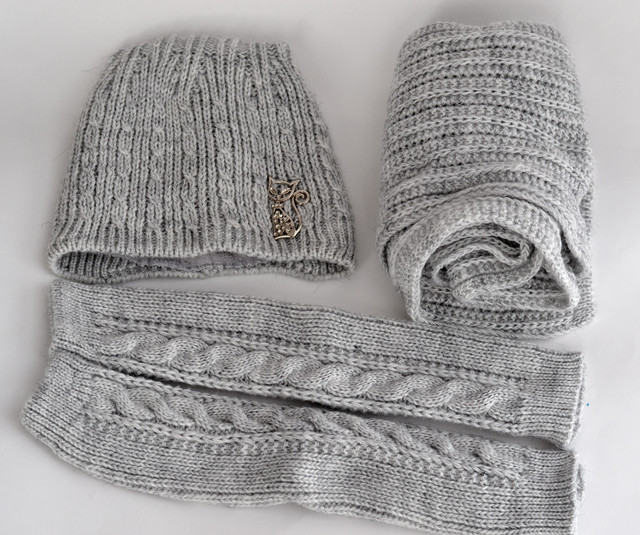шапка кошка шарф и митенки
