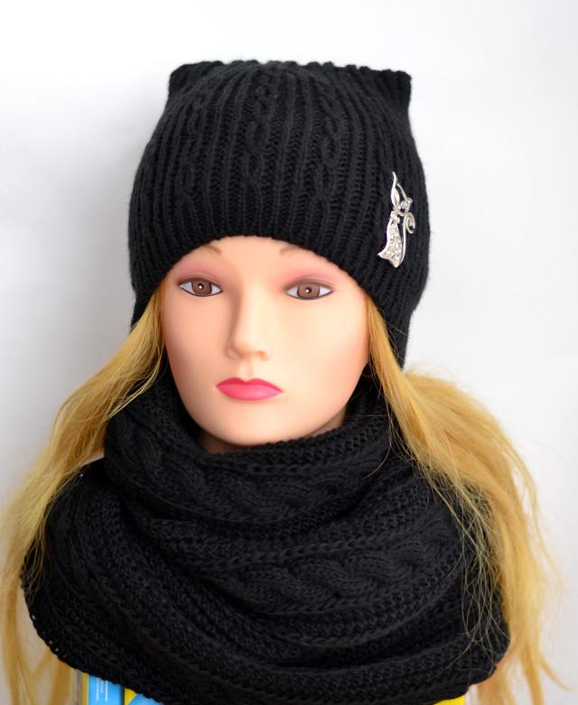 шапка кошка и шарф снуд