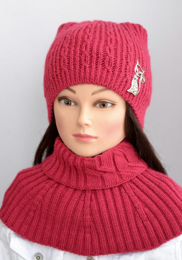 шапка женская кошка и шарф горлышко