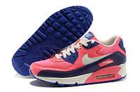 Кроссовки розовые женские Nike Air Max 90 Pink/ purple rose/ violet для спорта, активного отдыха