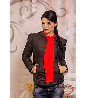 Модная женская куртка с шарфиком в расцветках