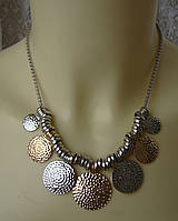 Ожерелье женское колье модное подвески металл ювелирная бижутерия 5578