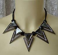 Ожерелье женское колье модное подвески металл кристаллы ювелирная бижутерия 5579