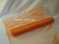 Органза флористическая на метраж,цвет оранжевый (ширина 36-38см)