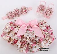 Нарядный комплект из повязки, юбка-шорт и цветов на ножки для девочки размеры с 3 до 18 мес