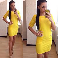 Модное стильное  платье с карманами в ярких цветах. Артикул SM31