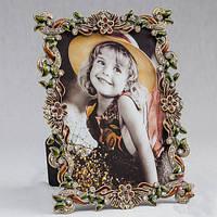 """Оригинальная фоторамка """"Алмазы в листьях"""" 13х18 см, для фото 10х15 см"""