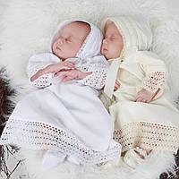 Детская шапочка Ажурная от Miminobaby кремовая 40-44