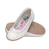 Детские белые туфли балетки на девочку подростка