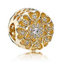 Подвеска-шарм из золота 585 пробы  Золотые сердца pandora