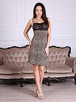 Леопардовая женская сорочка из вискозы с гипюровой вставкой