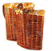 Корзины для белья из лозы угловые, набор 2шт 42х42х56 см