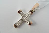 Кулон - серебряный крестик с золотыми вставками и фианитами