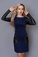 Модное молодежное платье с накладными карманами воротник хомут в комплекте