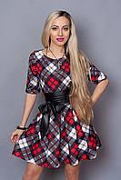 Отличное молодежное платье с пышной юбкой и кожаным поясом
