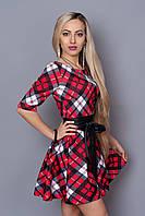 Эффектное платье юбка-клеш в модную клетку с поясом из кожзама