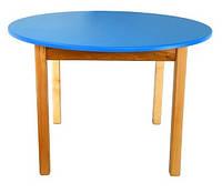 Стол деревянный с круглой столешницей цветной, синий 035 Финекс Плюс
