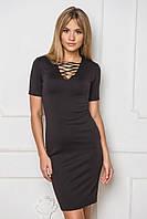 Элегантное облегающие черное платье до колена