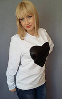Женский реглан с принтом сердце, р-р 42-50, белый