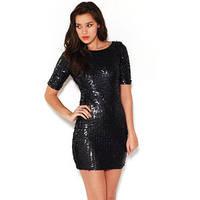 Брендовое женское платье Bhatti Paris пайетки черное размер М-L