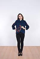 Элегантное кашемировое пальто с вышивкой и воротником бантом