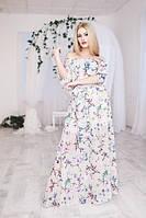 Платье женское в пол с красивым весенним принтом