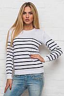 Женский белый свитер в полоску