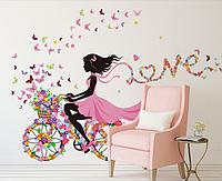 """Наклейки в салон красоты  """"девушка на велосипеде в розовом платье с цветами и бабочками"""" (60*90см лист)"""