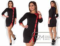 Короткое платье большого размера с кожаным бантом i-1515211