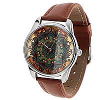 Часы  ZiZ  маст-хэв Золотые узоры коричневый, серебро