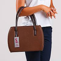 Оригинальная коричневая сумка с трубчатыми ручками