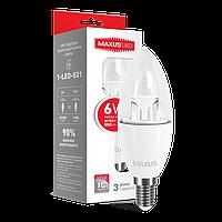 Светодиодная лампа MAXUS 6Вт C37/прозрачная E14