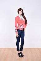 """Нарядный женский пиджак """"Ромашка"""" модного кроя украшен вышивкой из цветов"""