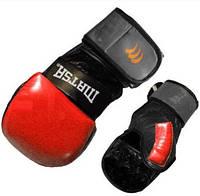 Перчатки для смешанных единоборств MMA Кожа MATSA ME-2011-R (р-р S-XL, красный-черный)