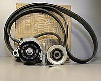 Комплект натяжитель + ролик + ремень генератора на Renault Trafic 2006-> 2.0dCi (+AC) - 7701478495