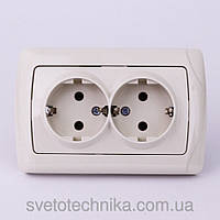 Розетка электрическая VI-KO Carmen скрытой установки двойная с заземлением