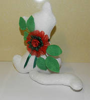 Котик с цветком, необычный подарок девушке, маме.
