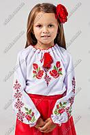 """Детская вышиванка крестиком """"Зоряночка"""" с розочками и орнаментом"""